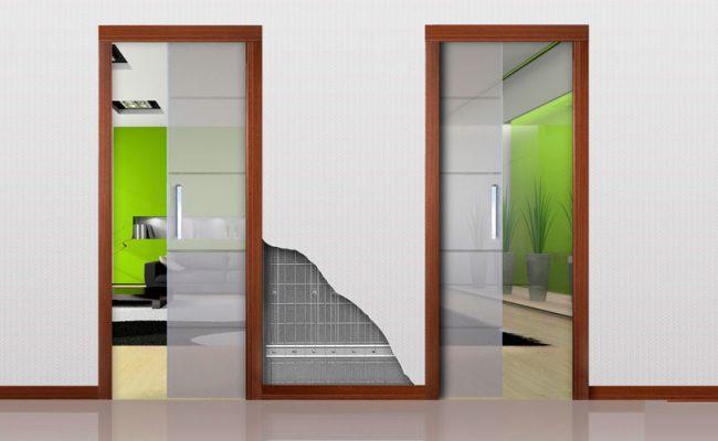 Porta de correr embutida inverso duas portas vidro ou madeira
